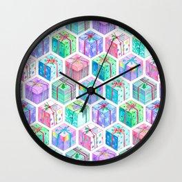 Christmas Gift Hexagons Wall Clock
