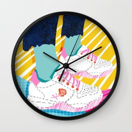 Butter - throwback 80s style vibes shoes fashion sneakers 1980's trend memphis art Wall Clock