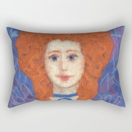 Red Hair, ginger lady, rococo haircut, felt painting, fiber art Rectangular Pillow