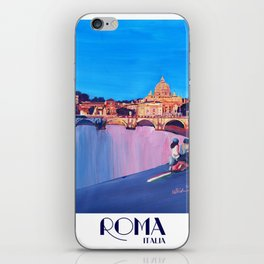 Rome Scene with Motorcycle and view of Vatican with Dome of St Peter iPhone Skin
