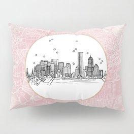 Boston, Massachusetts City Skyline Illustration Drawing Pillow Sham