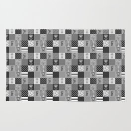 Jungle Friends Shades of Grey Cheater Quilt Rug