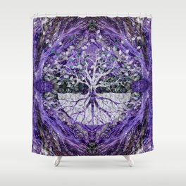 Silver Tree Of Life Yggdrasil On Amethyst Geode Shower Curtain