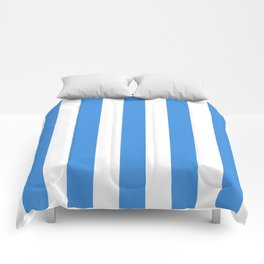 Tufts blue - solid color - white vertical lines pattern Comforters
