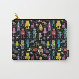 Robots in Space - on black Carry-All Pouch