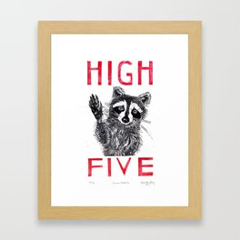 Raccoon High Five  Framed Art Print