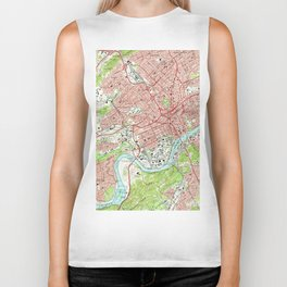 Vintage Map of Knoxville Tennessee (1966) Biker Tank