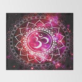 Ohm Mandala : Galaxy Mandala Red Fuchsia Pink Throw Blanket