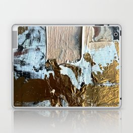 Compelling: a minimal, abstract mixed-media piece in gold, pink, black and white by Alyssa Hamilton Laptop & iPad Skin