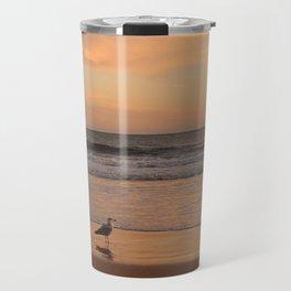 Seagull enjoying golden hour at the beach Travel Mug
