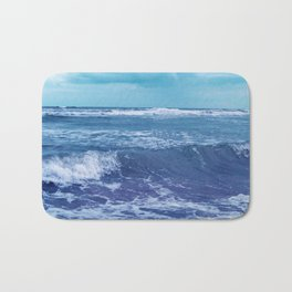 Blue Atlantic Ocean White Cap Waves Clouds in Sky Photograph Bath Mat
