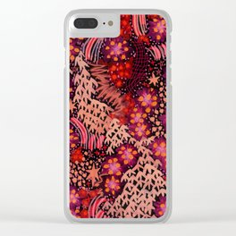 Fire Flowers Clear iPhone Case