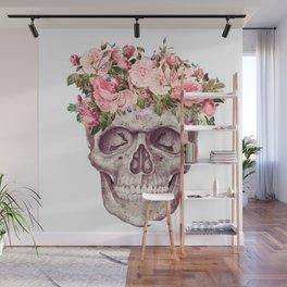 flower crown skull Wall Mural