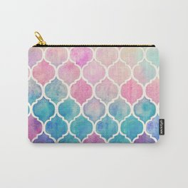 Rainbow Pastel Watercolor Moroccan Pattern Carry-All Pouch