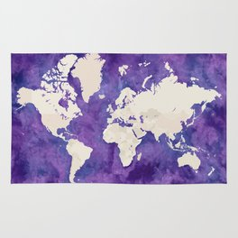 Purple watercolor and light brown world map with outilined countries Rug