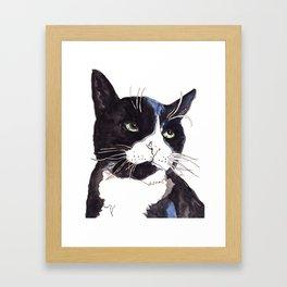Black and White Kitty Framed Art Print