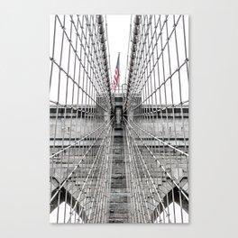 The Brooklyn Bridge and American Flag Canvas Print