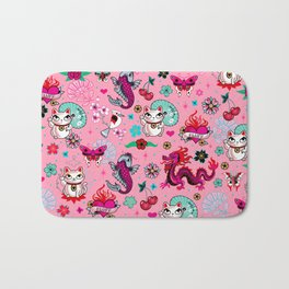 Lucky Cat Maneki Neko , Dragons and Koi fish On Pink Bath Mat
