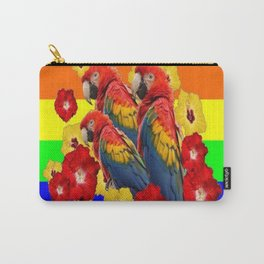 TROPICAL RAINBOW ART MACAWS & RED YELLOW HIBISCUS Carry-All Pouch