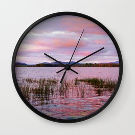 Sunset over Raquette Lake Wall Clock