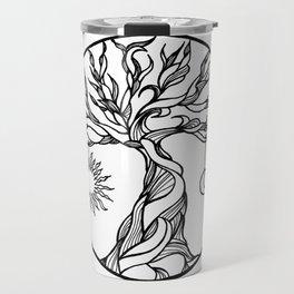 black and white tree of life with hanging sun, moon and stars I Travel Mug