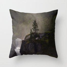 Sunlit waterfall detail in Norway Throw Pillow