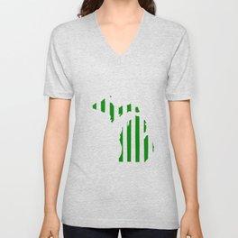 Green and White Michigan Unisex V-Neck