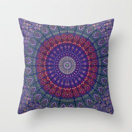 Blue Mandala Hippie Design Throw Pillow