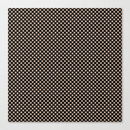 Black and Toasted Almond Polka Dots Canvas Print