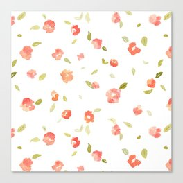 Shabby Chic Red Floral Pattern Canvas Print