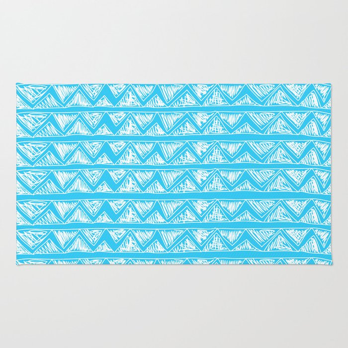 Simple Geometric Zig Zag Pattern - White on Teal - Mix & Match with Simplicity of life Rug