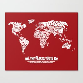 Oh The Places You'll Go - World Word Map with Dr. Seuss Quote Canvas Print