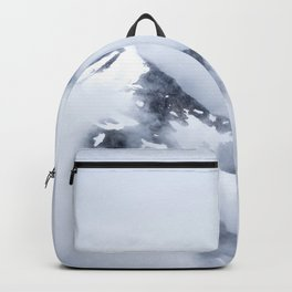 Minimalist MIsty Foggy Mountain Twin Peak Snow Capped Cold Winter Landscape Backpack