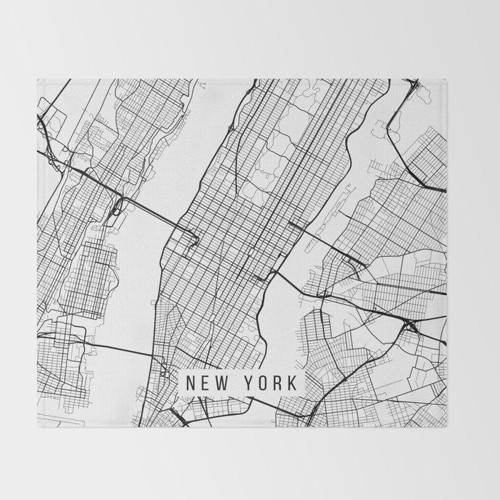 New York City Map, Manhattan New York USA - Black & White Portrait Throw  Blanket
