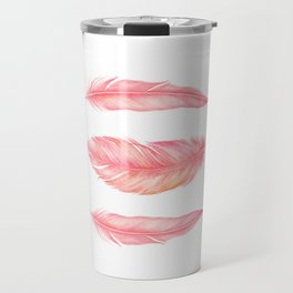 Flamingo Feathers | Watercolour Print Travel Mug