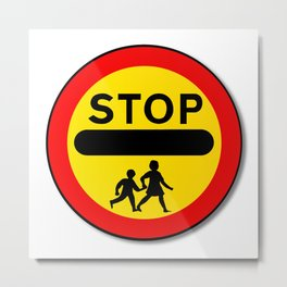 Stop Children Traffic Sign Metal Print