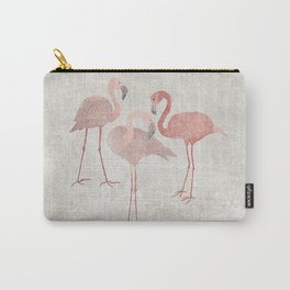 Pink flamingos on sand beige Carry-All Pouch