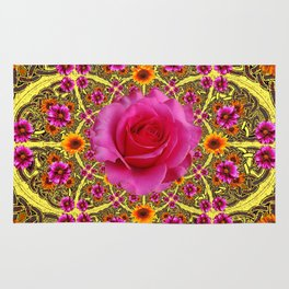 EXOTIC Decorative Yellow ART & Pink Roses Rug