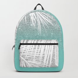 Modern tropical white palm tree silver glitter ombre on robbin egg blue turquoise Backpack