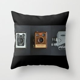 Vintage Camera Triptych Throw Pillow