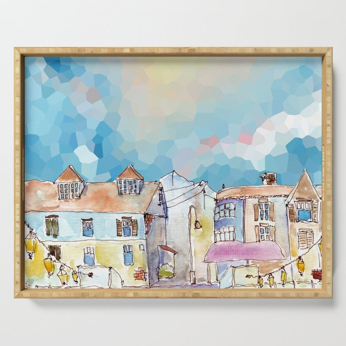 Colorful street in old town under abstract sky Serving Tray