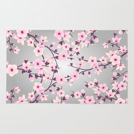 Cherry Blossoms Pink Gray Rug