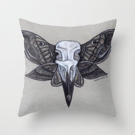 Crow Skull w/Moth Wings Throw Pillow