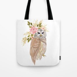 Owl with flower crown Tote Bag