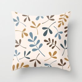 Assorted Leaf Silhouettes Blues Brown Gold Cream Throw Pillow