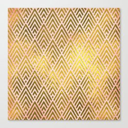 Gold foil triangles on pink - Elegant and luxury triangle pattern Canvas Print