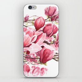 Watercolor Magnolia flowers iPhone Skin