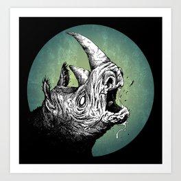 Crazy Rhino Art Print
