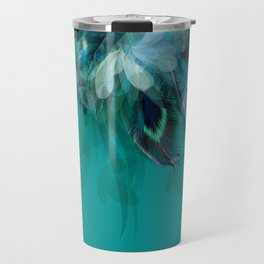 DREAMY FEATHERS & LEAVES - Deep Cyan Travel Mug
