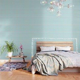 Quatrefoil - cream and arctic Wallpaper